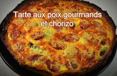 Tarte aux poix gourmands et chorizo