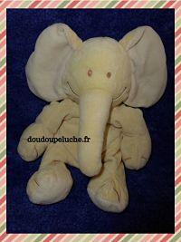 Doudou éléphant jaune, marque Kiabi baby, velours, 30 cm, www.doudoupeluche.fr