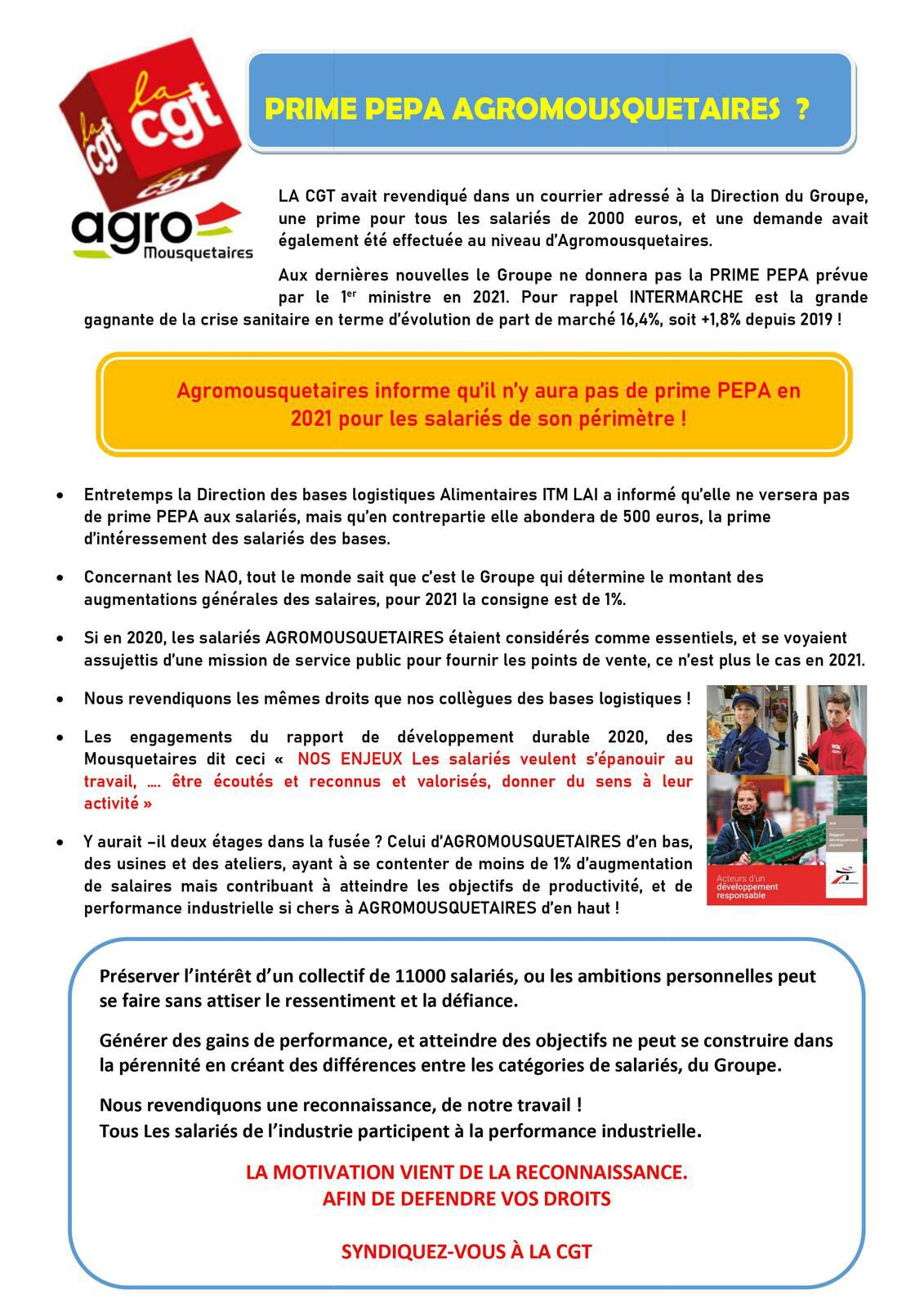 Information CGT AGROMOUSQUETAIRES