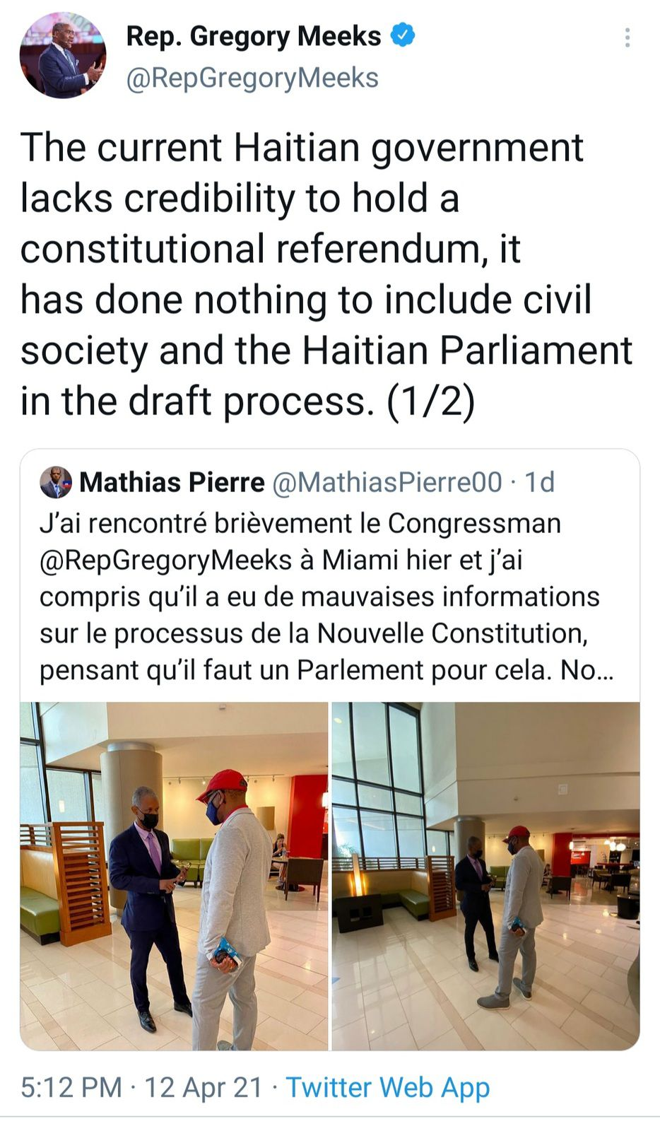 Le Congressman Gregory Meeks recadre le ministre Mathias Pierre
