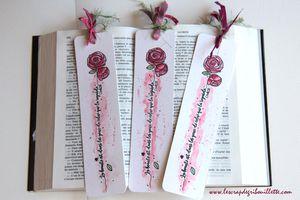 Marque-pages aquarellés_Bouquet de roses