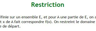 POST BAC - Définition d'une restriction de fonction