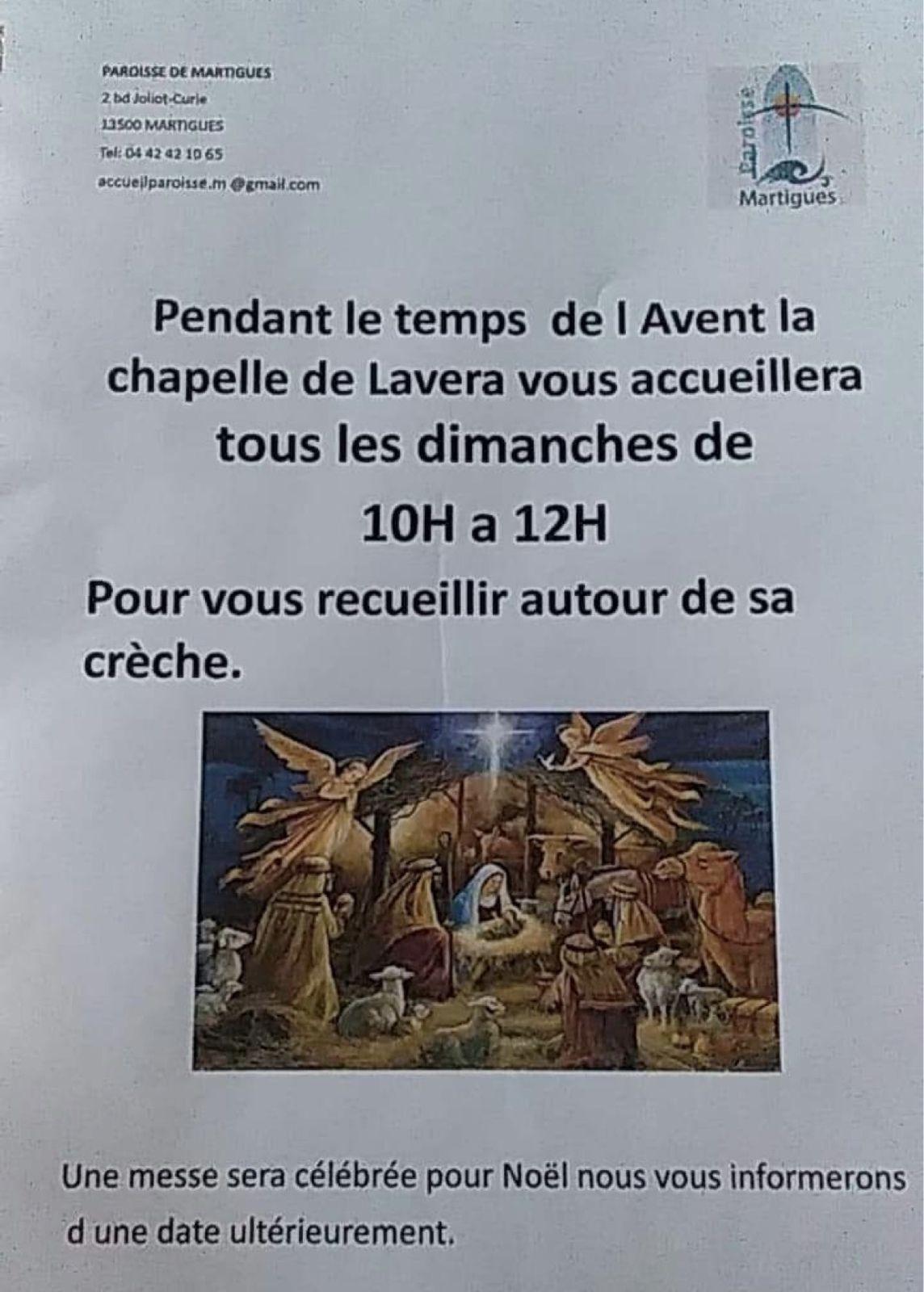Nous saluons cette année la nouvelle crèche de la chapelle de Lavera qui est ouverte le dimanche matin.