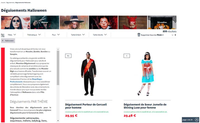 captures d'écran du site Monsieur Déguisement - tous droits réservés