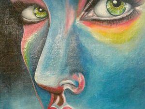 Deux belles peintures de Marina. Femme avatar réalisée au couteau. Et  femme outrée !! Super Marina