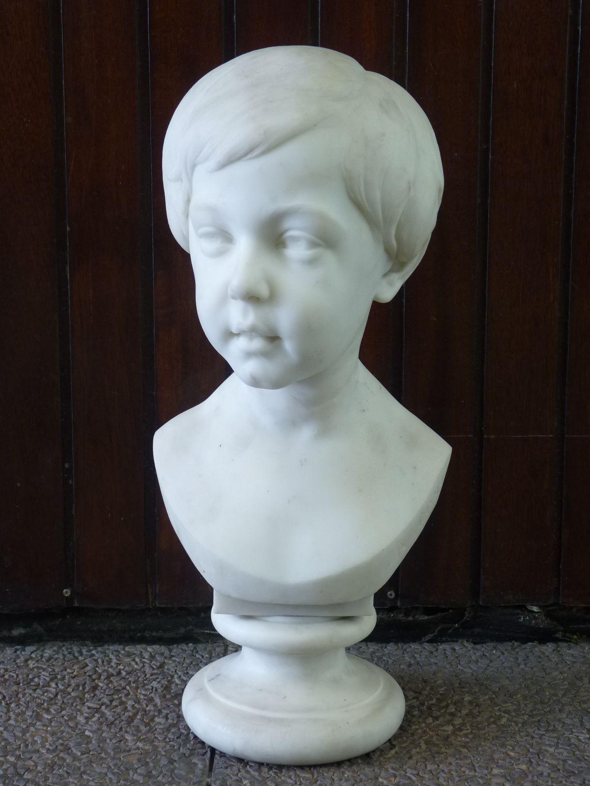 Buste de Petit Garçon, Paul Gayrard (1807-1855), Marbre de Carrare