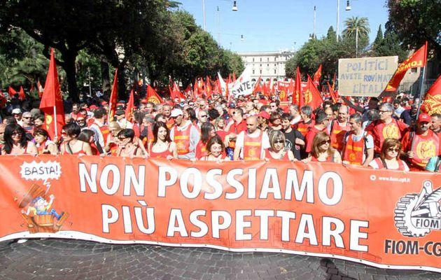 100 000 manifestants à Rome à l'appel de la FIOM, le syndicat des métallos, face à l' « union sacrée » politique et syndicale