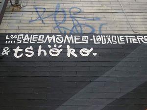 """En écho et en soutien au mouvement """"Black lives matter"""", Louis Letters a réalisé une affiche avec des poings levés et fermés. Il a également signé une murale en collaboration avec Tshoko."""