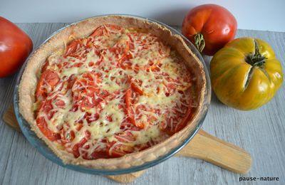 Tarte tomate-moutarde à l'ancienne et morbier