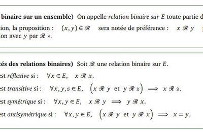 POST BAC - Relations binaires - Définition et Propriétés
