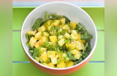 Salade exotique, mangue, papaye, ananas et citron vert