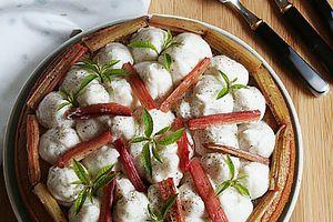 Gâteau  à la crème verveine coco et rhubarbe. { sans gluten, sans lait, sans œufs}