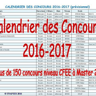 Calendrier des concours 2017 - prévisionnel