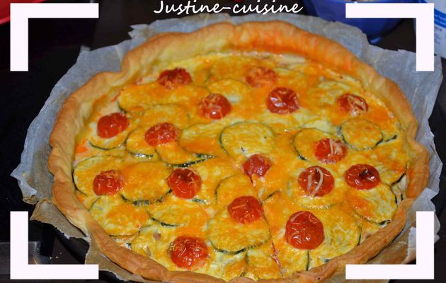 Tarte chorizo, courgette et fromages