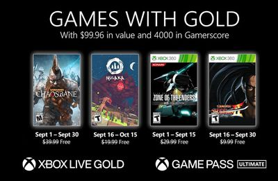 Games with Gold - Septembre 2021