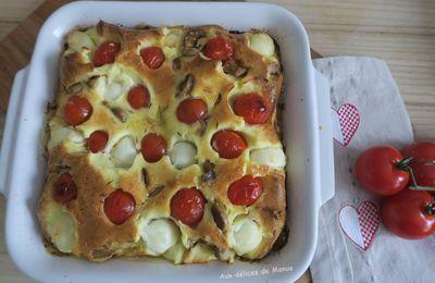 Flan salé aux champignons, billes de mozzarella et tomates cerises