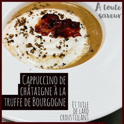 Cappucino de châtaigne à la truffe de Bourgogne et tuile de lard croustillant