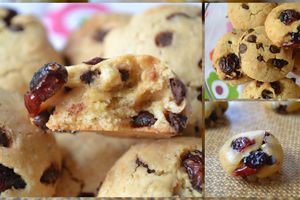 Cookies sans beurre au chocolat et cranberries