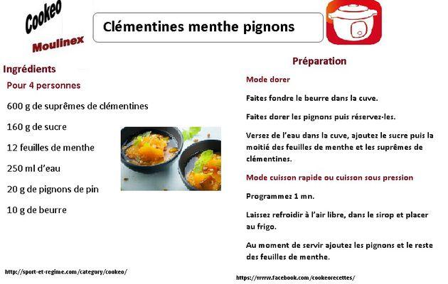Clémentines menthe pignons : la fiche recette cookeo