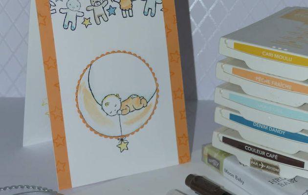 carte de naissance Moon Baby