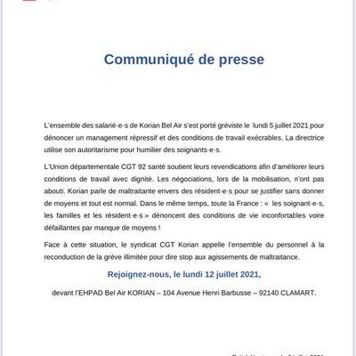 La CGT KORIAN et l'USD CGT SAS 92 appellent à une grève illimitée pour dire non à la maltraitante institutionnelle!!! Rendez-vous devant l'EHPAD « BEL AIR » du groupe KORIAN située au 104 avenue Henri BARBUSSE à CLAMART (92) le lundi 12 juillet 2021.