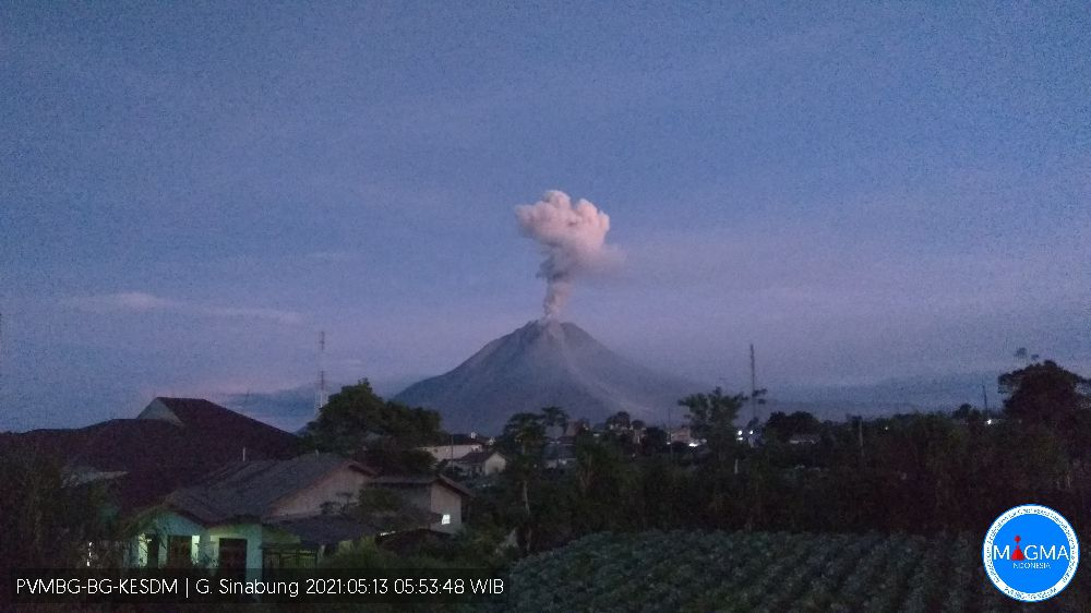 Sinabung - 05.23.2021 / 5:49 am WIB - photo PVMBG / Magma Indonesia