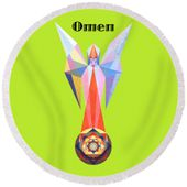 Omen Text Round Beach Towel for Sale by Michael Bellon