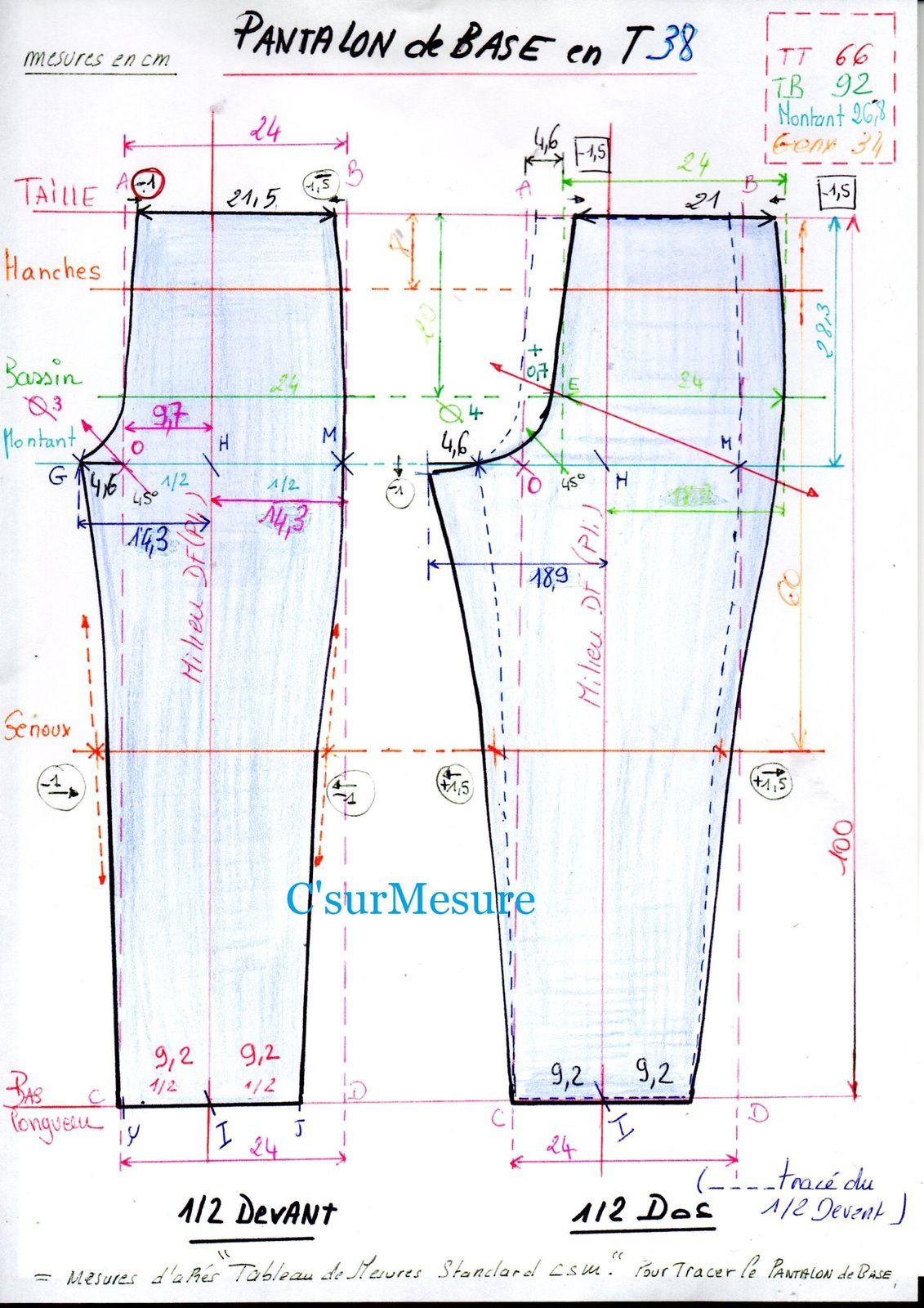 fiche tracé du Pantalon de Base TB38csm