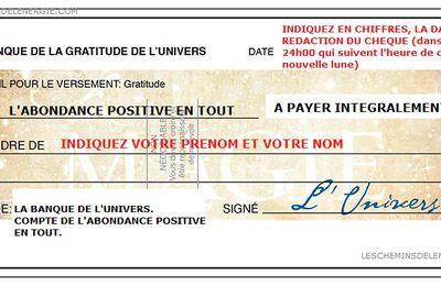 Quand et comment rédiger un chèque d'abondance positive en tout