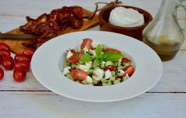 Salade de fèves au chèvre frais