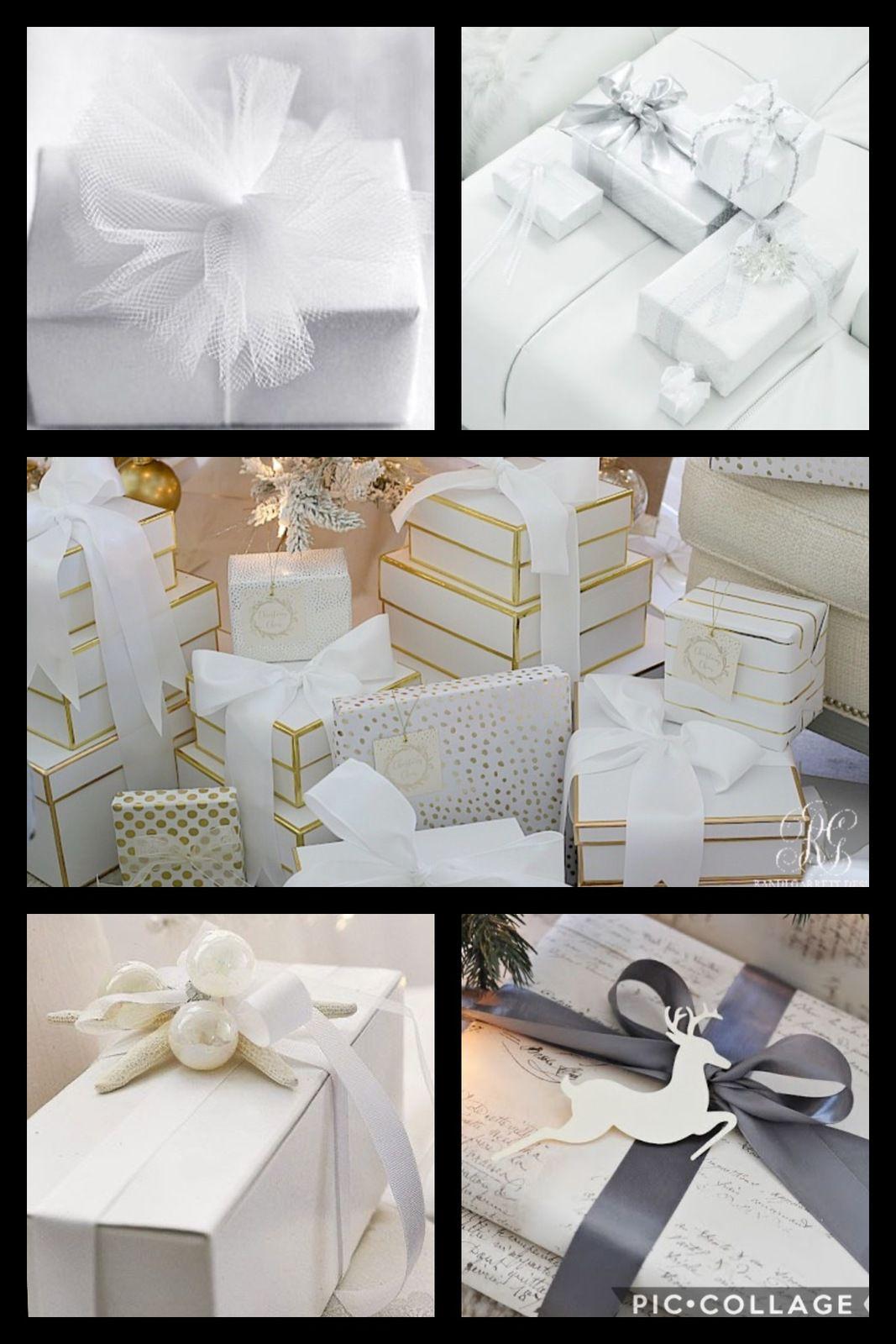 Misez sur des papiers cadeaux blancs, rubans satin blancs ou  gris pour créer de la féerie. (Photos source pinterest)