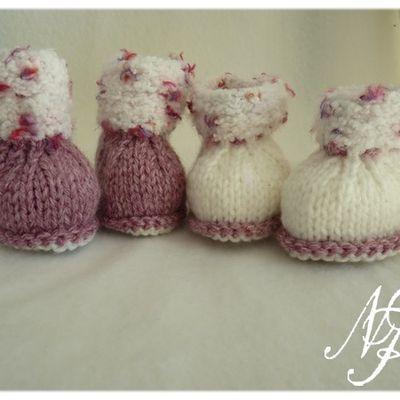 Bottillons fillette 6 mois au tricot