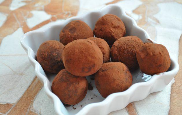 Truffes chocolat framboise, coeur de pâte d'amande