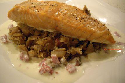 Pavé de saumon rôti chou et lardons - Cuisine légère