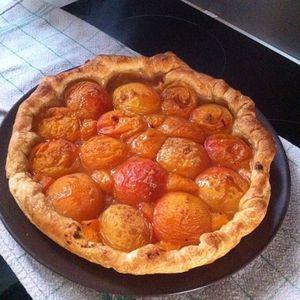 Tarte aux abricots saupoudré de sucre Muscovado et sucre vanillé