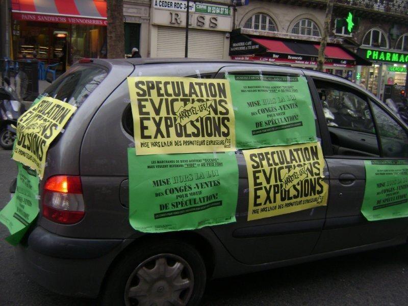 Pour l'arrêt des expulsions Pour la construction de logements sociaux Contre le logement cher