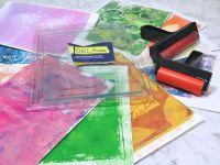 Présentation - Revue - Test - Gel Press - 2021 - Papiers - Scrap - Carterie - Impression - Peinture - Encre - Distress Oxide - Rouleau - Empreintes - Comment utiliser - Comment nettoyer
