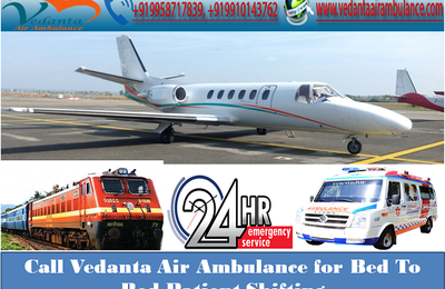 Call Vedanta Air Ambulance Services in Patna for Bed To Bed Patient Shifting