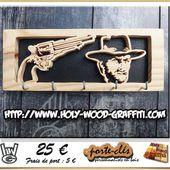 Porte-clés Mural : Le Bon / The Good ( Clint Eastwood ) - Cadeau de départ pour Gendarmes Militaires Pompiers - Cadeau anniversaire de mariage