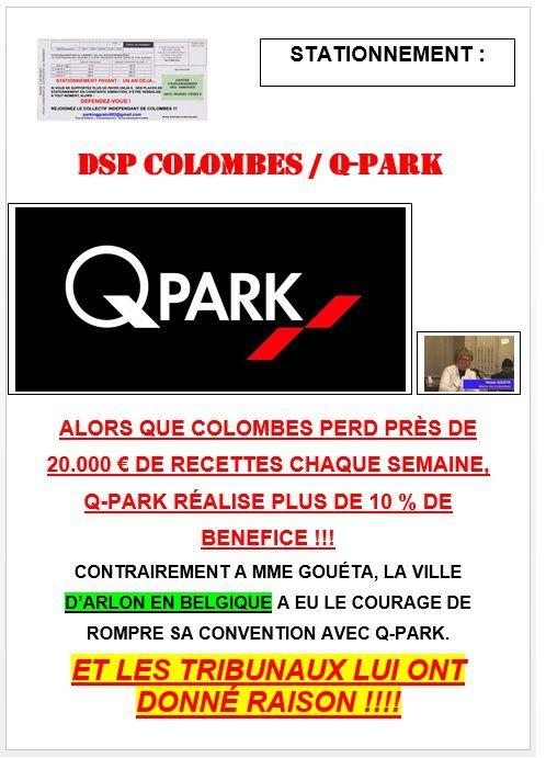 ALORS QUE COLOMBES PERD PRÈS DE 20.000 € DE RECETTES CHAQUE SEMAINE, Q-PARK RÉALISE PLUS DE 10 % DE BENEFICE !!!