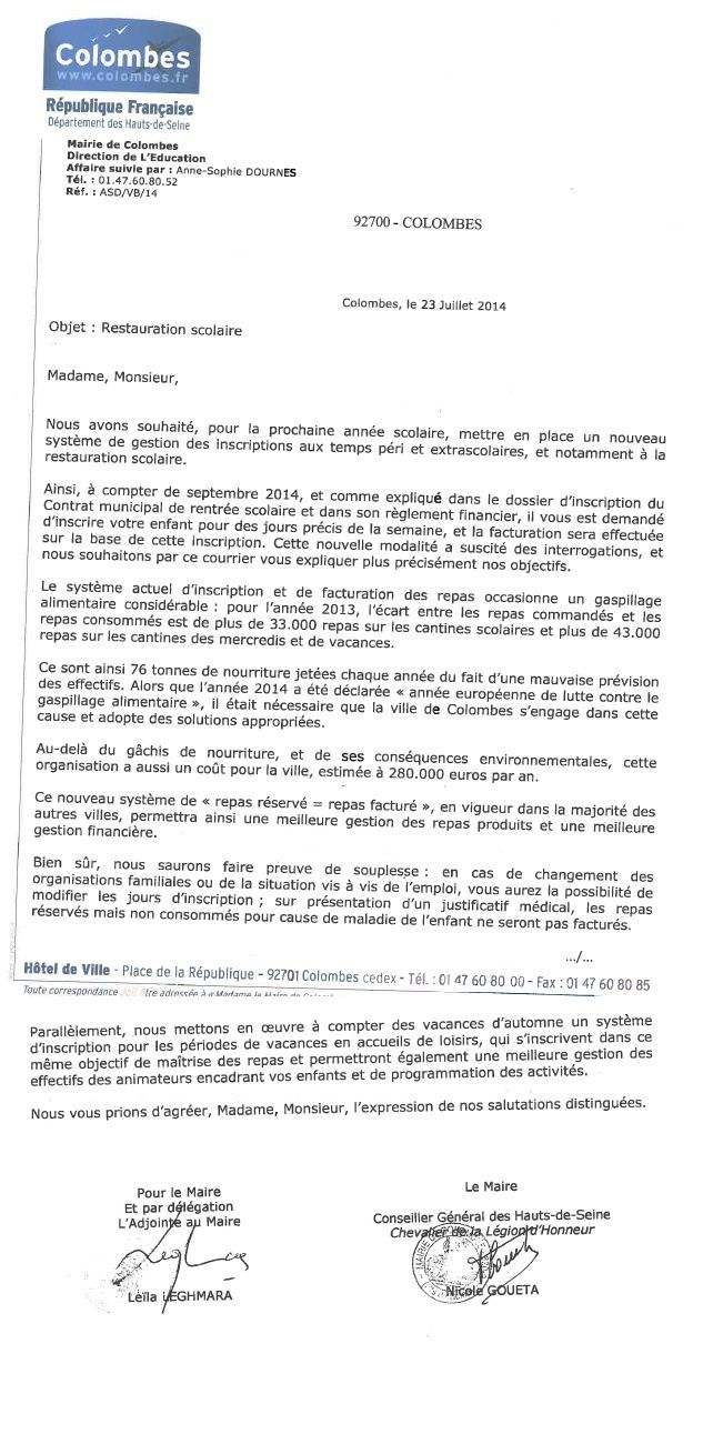 colombes courrier restauration scolaire