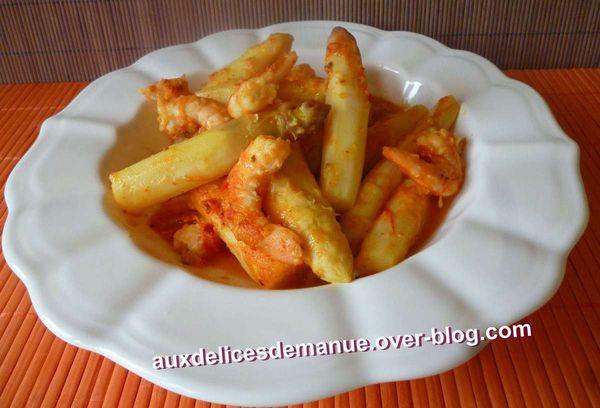asperges blanches et crevettes sauce crémeuse piquante - LIGHT -