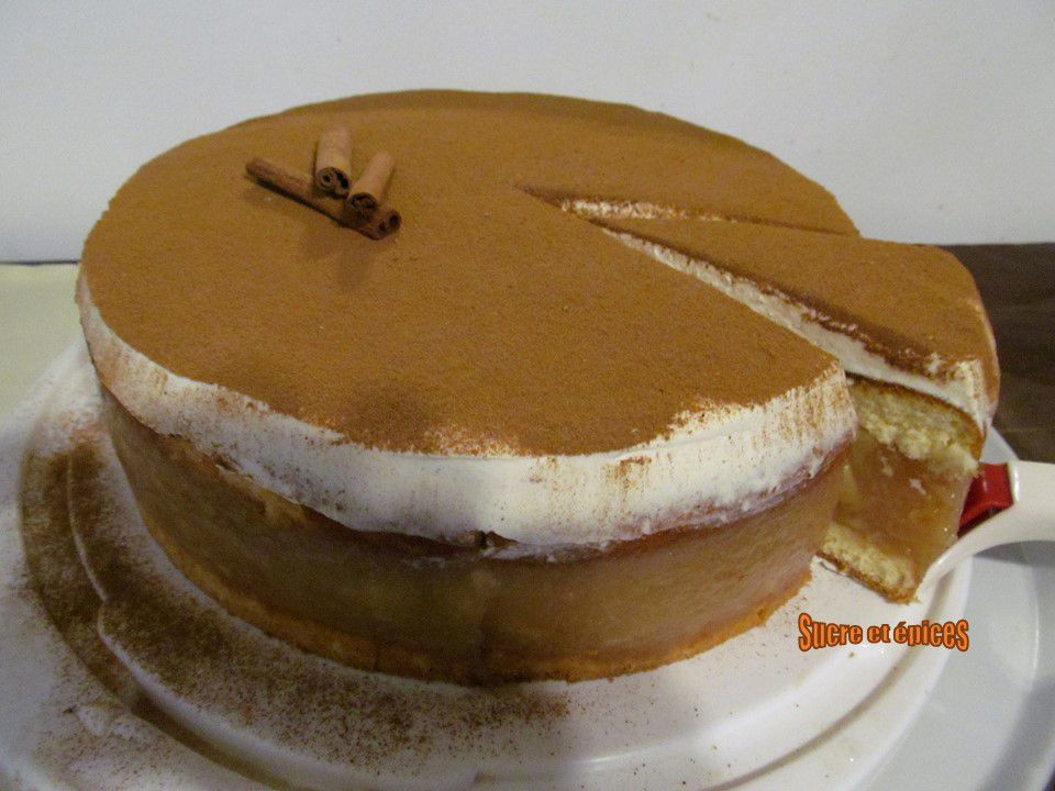 Gâteau pommes, chantilly, cannelle (sans gélifiant)