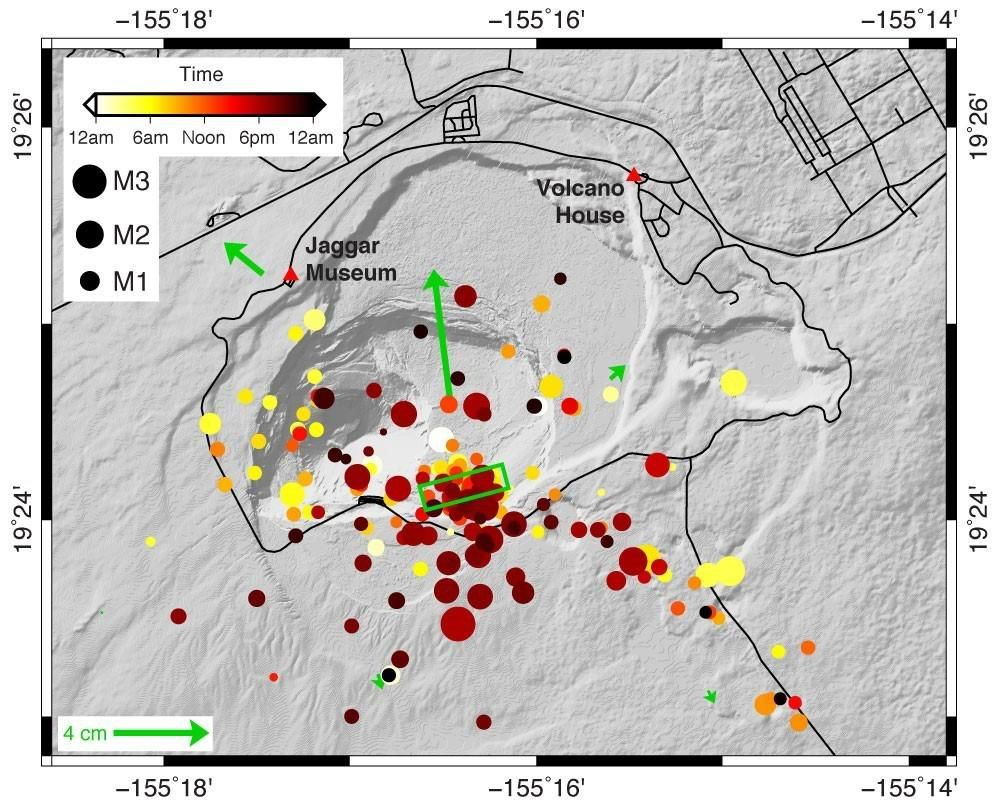 Kilauea - Map showing the locations of the earthquakes at the top of Kīlauea on December 2, 2020. Movements detected by the HVO's GPS monitoring network are represented by green arrows. Movements detected by the HVO's GPS monitoring network are represented by green arrows. The green box indicates the minimum size of the magma intrusion, constrained by soil deformation - Doc. USGS