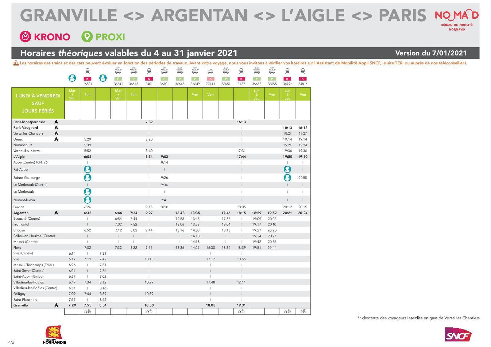 Paris > Granville -version du 07.01.2021