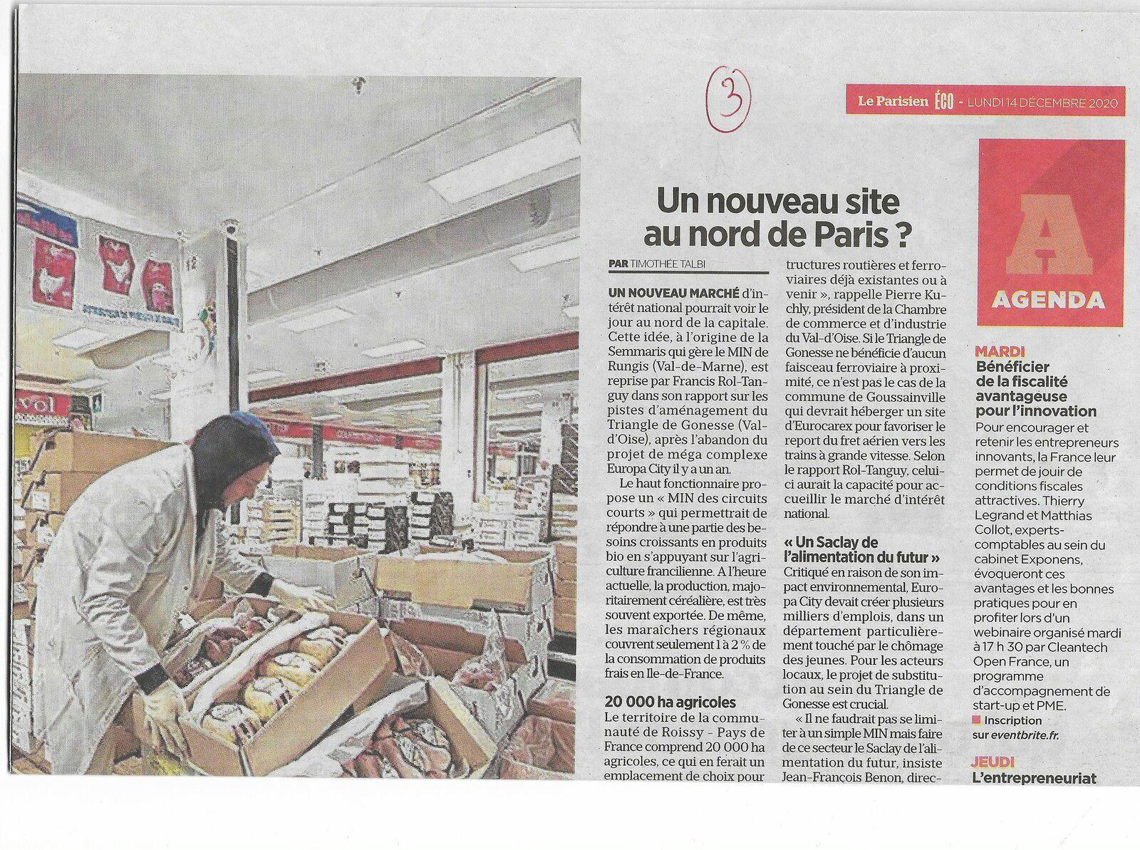 Vu et lu dans Le Parisien Eco du 14/12/20