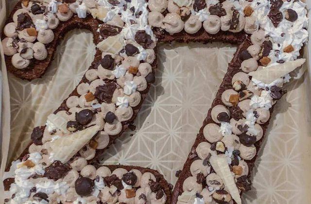 Number cake chocolat-noisette-coco
