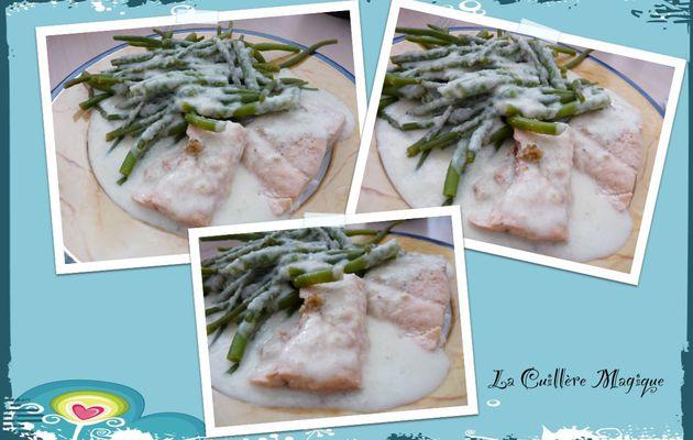 Saumon sauce concombre et haricots verts