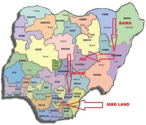 map of nigeria showing igbos path back to the promise land