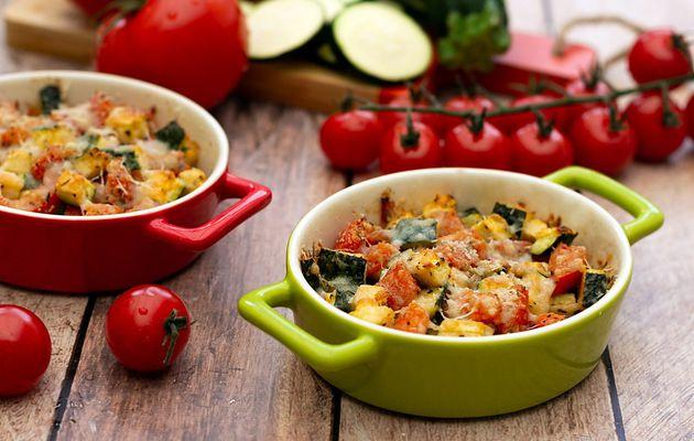 Gratin de courgettes et tomates au parmesan